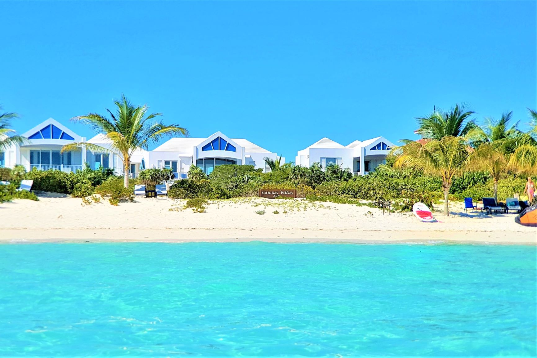 View from beach of Caicias Beachvillas in Long Bay TCI